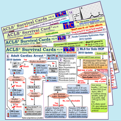 Alt = quick reference and review of ACLS (adult cardiac life support) algorithms based on 2015 AHA recommendations, resuscitation medications, stroke symptom scoring list, stroke evaluation and treatment, and ECG tracings of common rhythms on four 3 in x 5 in, laminated cards for quick reference and review